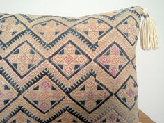 Vintage Chinese Wedding Blanket Pillow Cover / Boho Pink Tan