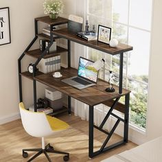 Computer Desk with Storage Shelves, 60 inch Large Rustic Office Desk Computer Table Computer Desk With Shelves, Computer Desks For Home, Bookshelf Desk, Home Desk, Desk Hutch, Computer Desk Small Space, Metal Computer Desk, Computer Desk Design, Small Writing Desk