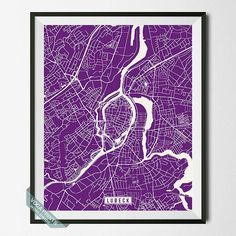 Lubeck Print Germany Poster Lubeck Poster Lubeck Map by VocaPrints