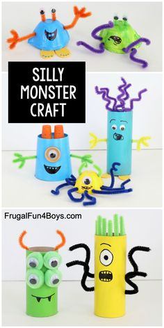 Silly Monster Craft for Kids - Fun recycled craft idea with egg cartons, paper rolls, and more. crafts for kids Silly Monster Craft for Kids - Frugal Fun For Boys and Girls Recycled Crafts Kids, Fun Crafts For Kids, Craft Activities For Kids, Toddler Crafts, Preschool Crafts, Diy For Kids, Kids Fun, Kids Boys, Craft Kids