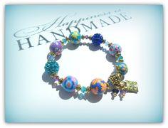Gold Ornate Padlock Charm, Rainbow Colours Childrens Bracelet Kids Bracelet Polymer Clay Bracelet Shamballa Bead UK Children's Accessories by SimplyPrettyJewels on Etsy