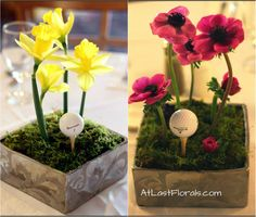 Unique Centerpieces and Flowers - Golf Themed Wedding. Filled with fun yellow Daffodils and hot pink Anemones  Flowers by: At Last Florals
