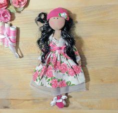 Textile doll, black doll handmade. Beauty doll art doll lovely doll fabric Doll. Cute doll tilda Soft dolls. Fabric dolls. Gift idea mulatto by EvaiDolls on Etsy
