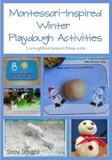Montessori Monday – Montessori-Inspired Winter Playdough Activities - roundup with lots of Montessori-inspired activities for playdough trays or tables