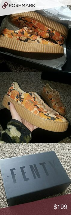 Fenty Puma creepers The Rihanna Fenty Puma orange camo creepers that sold out on the site in under 4 minutes!! I wore them once but they were a little tight in me so I want to sell them. They are so so cool. Puma Shoes Sneakers