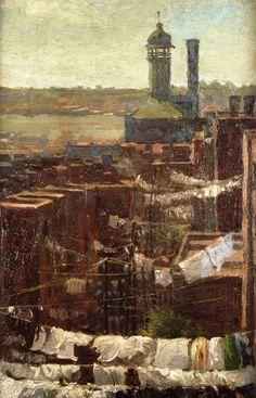POUL WEBB ART BLOG - Hudson River View 1912 Julian Onderdonk, American painter born in Texas.
