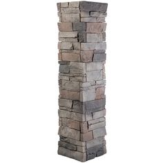 GenStone Stacked Stone 1.5 in. x 11.25 in. Kenai Faux Pillar Panel (4-Pack), Grey Base With Charcoal And Copper Highlights