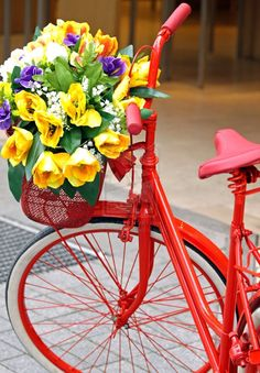 Red Bicycle with Flowers