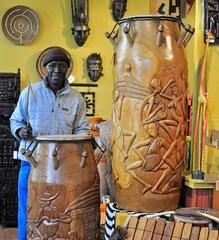 """48"""" Mahogany Talking Drums - One-of-a-Kind Handmade in Africa - Swahili Modern - 1"""