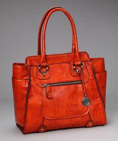 London Fog Persimmon Lizard Knightsbridge - Pop of color in your handbag always necessary