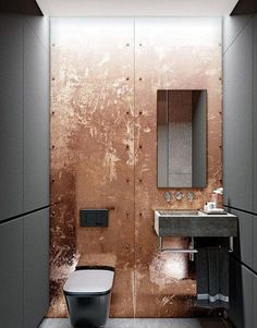 Bathroom Black Decoration Interior Design Ideas For 2019 Guest Toilet, Small Toilet, Copper Bathroom, Modern Bathroom, Copper Wall, Bathroom Black, Bad Inspiration, Bathroom Inspiration, Bathroom Interior Design