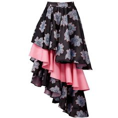 Viva Aviva Floral Ruffle Skirt ($60) ❤ liked on Polyvore featuring skirts, flounce skirt, flouncy skirt, flower print skirt, frill skirt and frilly skirt #bestskirtlengthforover60