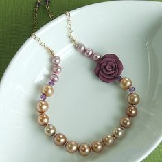 SALE Purple Rose and Pearl Necklace with por VictoriaCampAllison