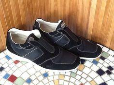 Salvatore Ferragamo Authentic Black Suede/Nylon Canvas Slip-On Sneaker 9.5 A