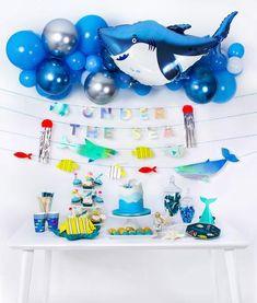 Under the sea party ideas, shark party ideas, shark birthday, under the sea birt. Hawaiian Party Decorations, Kids Party Decorations, Party Ideas, Kids Party Themes, Boy Theme Party, Fourth Birthday, Boy Birthday Parties, Birthday Ideas, Birthday Recipes