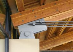 Roof truss connection. Spring Creek Ranch. Cutler Anderson Architects: