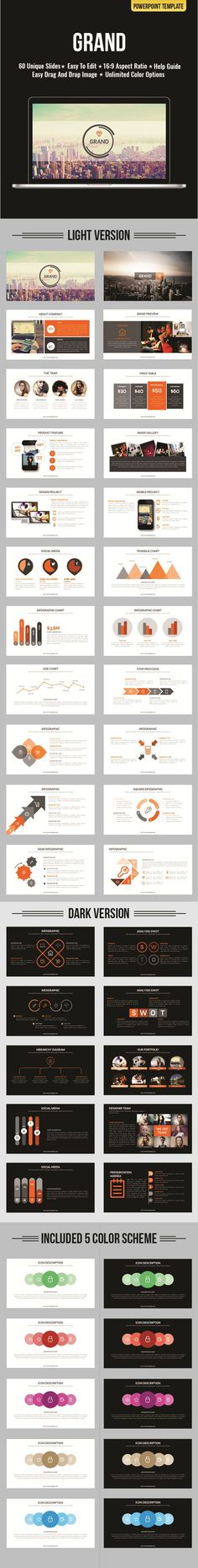 Grand PowerPoint Template #powerpoint #powerpointtemplate #presentation Download: http://graphicriver.net/item/grand-powerpoint/11924852?ref=ksioks