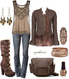 """Twisted Sister"" by cynthia335 on Polyvore Different boots, and the button front jacket, yuck, but otherwise I like."