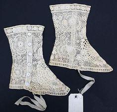 Cotton lace spats 1900-1925