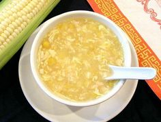 Chinese Corn Soup Recipe Ingredients  Chicken broth (You may use 2 large Campbell's tetra packs or homemade) 1 large can cream corn (or 1 cup corn – see note in directions) 1 small pkg crab / pollock or shredded cooked chicken breast Dash Tabasco sauce 2 egg whites