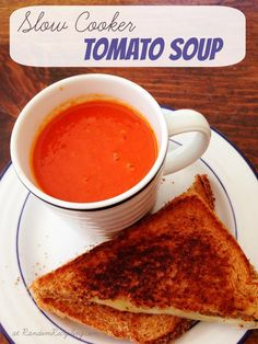Slow cooker tomato soup, perfect with a grilled cheese. Easy and healthy. (I love tomato basil soup. Could an herb change accomplish this? Worth a try. The soup as is sounds good too! Slow Cooker Tomato Soup, Tomato Soup Recipes, Crock Pot Slow Cooker, Crock Pot Cooking, Slow Cooker Recipes, Crockpot Recipes, Cooking Recipes, Healthy Recipes, Crock Pot Soup