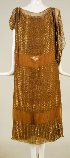 1920'S SILK CHIFFON DRESS W GOLD AND SILVER LAME EMBROIDERY