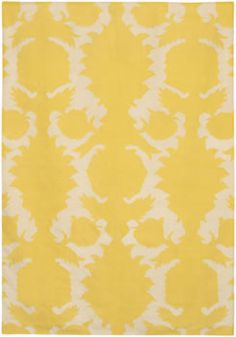 Yellow and off-white rug