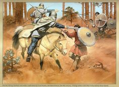 Painting by Angus McBride...Danish Viking chieftain and Sergeant confronted by local Franks