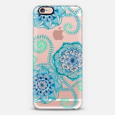 Sweet Teal & Blue Floral Doodle on Transparent - Classic Snap Case