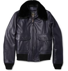 Schott G1 Shearling-Collar Leather Bomber Jacket. Check out more baseball jackets http://www.wantering.com/mens-clothing/jackets/