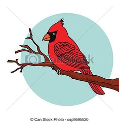 Vector Clipart of Red Bird cardinals - Vector Illustration Of Red ...