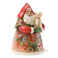 Jim Shore Purrfect Christmas Pint-Sized Santa with Cat Figurine