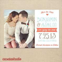 Rustic Vintage Mint Save the Date Wedding Printable Invitation OR Printed Card. $15.00, via Etsy.