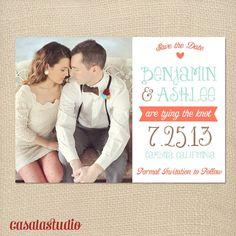 Rustic Vintage Mint Save the Date Wedding Printable Invitation OR Printed Card. $15.00, via Etsy.