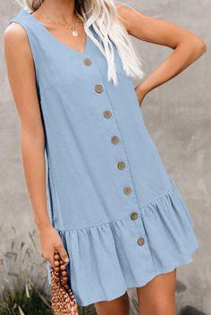 Asvivid Womens Summer Button V Neck Sleeveless Short Tank Dress Ruffle Swing Mini Casual Dresses Blue Summer Dresses, Day Dresses, Dresses Online, Blue Dresses, Casual Dresses, Loose Dresses, Mini Dresses, Dress Summer, Formal Dresses