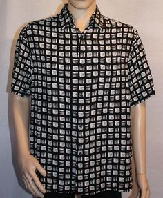 Crazy Horse Black and White Checkered Button Front Short Sleeve Large Shirt #CrazyHorse #ButtonFront