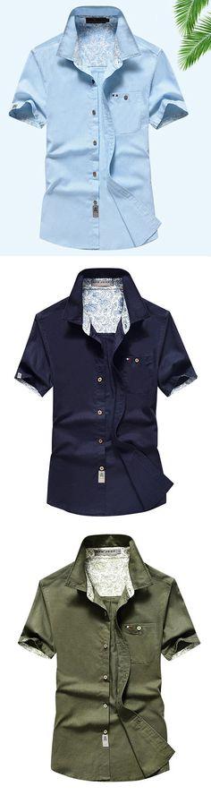 AFSJEEP Outdoor Casual Linen Short Sleeve Chest Pockets Dress Shirts for Men