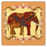 Lucky Ornate Patterned Indian Elephant Square Wall Clock The Rustic Clock