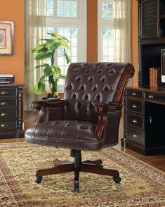 Button Tufted Executive Home Office Wooden Chair with Vinyl like Leather Upholstery, Dark Brown – Office lounge Executive Office Chairs, Home Office Chairs, Office Furniture, Office Lounge, Outdoor Lounge, Traditional Office Chairs, Adjustable Office Chair, Coaster Furniture, Traditional Design