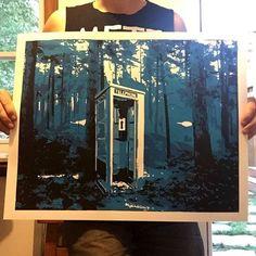 """""Long Distance"" 3 color screen print. First run of 25. etsy.com/shop/docklands #screenprint #silkscreen #phone #printmaking #nofilter #artoftheday"""
