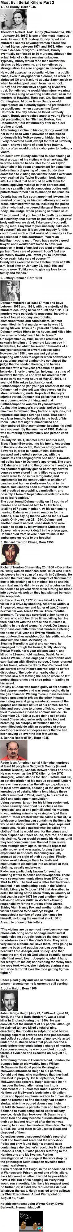 Most Evil Serial Killers Part 2