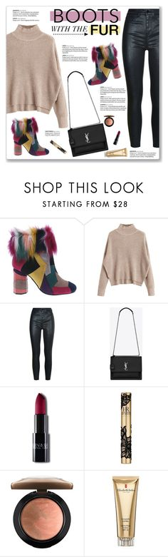 """""""Boots With The Fur"""" by kellylynne68 ❤ liked on Polyvore featuring Penny Loves Kenny, Yves Saint Laurent, Rubis, Helena Rubenstein, MAC Cosmetics, Elizabeth Arden, Boots, fur, fauxfur and furboots"""