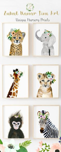 Floral Safari Animals Nursery Print Set Of 6 Safari Nursery Art Prints Animal Art Baby Elephant Giraffe Monkey Cheetah Lion Zebra