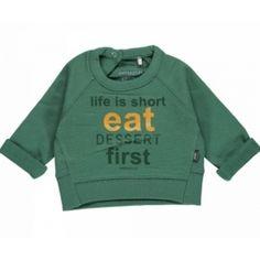 Imps&Elfs eat dessert first sweater groen, nog maat 92 en en maat 98 nu met 70% korting!