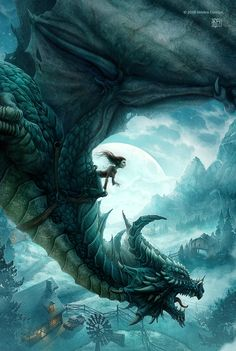 Kerem Beyit, fantasy-themed illustrations - Girl riding a dragon at night - Fantasy art Digital Art Illustration, Dragon Illustration, Fantasy Illustration, Art Illustrations, Illustration Pictures, Magical Creatures, Fantasy Creatures, Fantasy Kunst, Fantasy Art