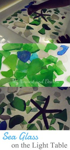 Sea glass on the light table. Exploring transparency, making patterns, and more playful learning. Ocean Themes, Beach Themes, Science Projects, Projects To Try, Light Board, Learning Stations, Imagination Station, Sensory Table, Preschool Science