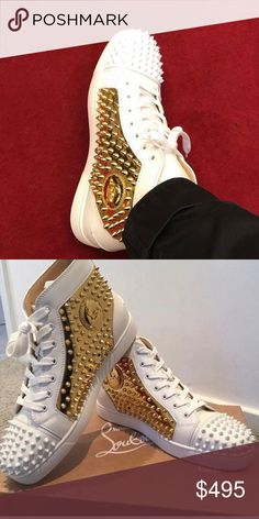 e81102eebd79 ... where can i buy gold spike louboutins white and gold spike louboutins  brand new with receipt