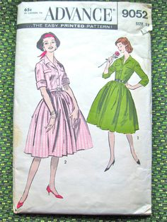 Uncut vintage early 60s dress pattern by Advance 9052.  Bust 32 inches on Etsy, $10.00