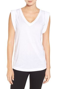 Trouvé Trouvé Shoulder Pleat Sleeveless Tee available at #Nordstrom