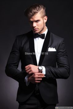 Cheap suit prom, Buy Quality suit directly from China suit belt Suppliers: 			  Elegant Groom's Wear Black Smoking Dinner jacket/Wedding Suits For Men/Best man's 3 P